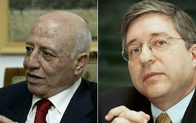 Ahmed Qureia, former Palestinian prime minister and Yossi Beilin, former Israeli justice minister (photo credit: Flash90)