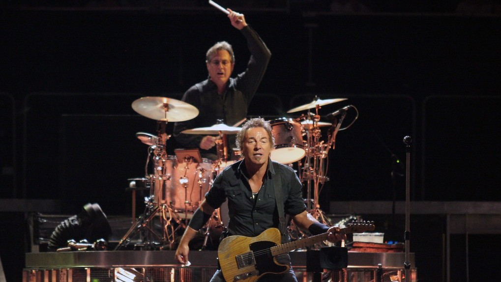 Bruce Springsteen with Jewish drummer Max Weinberg in concert. (photo credit: CC-BY-SA, Craig ONeal, Wikipedia)