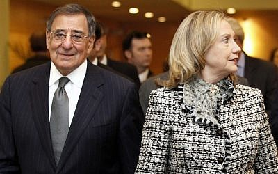 US Defense Secretary Leon Panetta and Secretary of State Hillary Rodham Clinton at NATO headquarters in April. (photo credit: Jacquelyn Martin/AP)