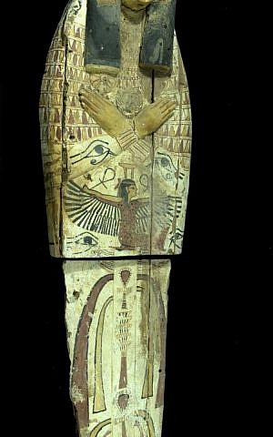 This Egyptian sarcophagus found in April was cut in half to facilitate smuggling (photo credit: courtesy Israel Antiquities Authority)