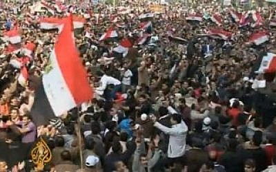 Egyptian Muslim Brotherhood supporters protesting in Cairo (photo credit: YouTube screen caption/Al-Jazeera)