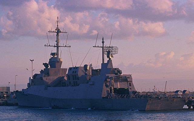The Israeli warship, Hanit, which was attacked by Hezbollah during the 2006 Lebanon War, allegedly by a C-802 anti-ship missile that was manufactured by Iran. (photo credit: Tsahi Ben-Ami/Flash90)