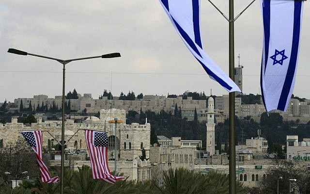 American and Israeli flags in Jerusalem (photo credit: Olivier Fitoussi/Flash90)