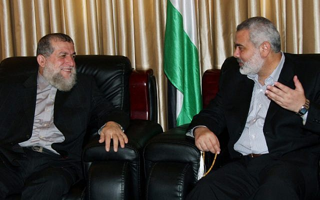 Hamas leader Ismail Haniyeh (right) and Islamic Jihad leader Sheik Nafez Azzam in 2008. (photo credit: Abed Rahim Khatib/Flash 90)