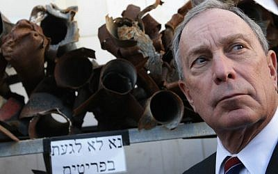 New York City Mayor Michael Bloomberg visits Sderot in January 2009 and sees a collection of debris from rockets fired at the town from Gaza. (Photo credit: Kobi Gideon/Flash90)