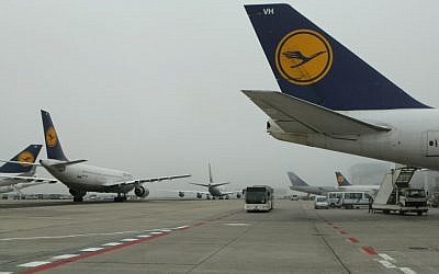 Illustrative: Lufthansa Airlines planes at the Frankfurt airport in Germany (Kobi Gideon/Flash90)