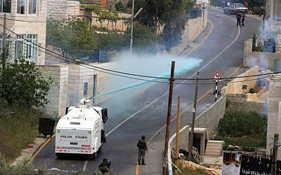 Israeli Border Police in Nebi Salah (Photo credit: Issam Rimawi/ Flash 90)
