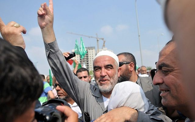 Sheikh Raed Salah, head of the radical wing of the Islamic Movement in Israel, pictured outside Ramla prison near Tel Aviv in 2010. (Yossi Zeliger/Flash 90)
