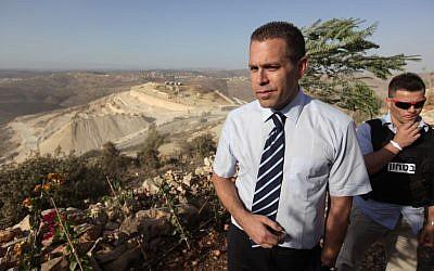 Gilad Erdan in a visit to a Palestinian town in 2010 (photo credit: Kobi Gideon / Flash90)
