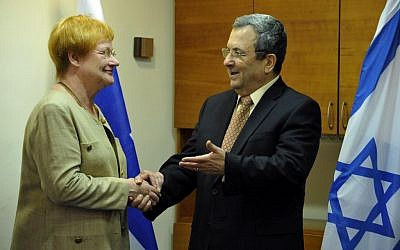 Defense Minister Ehud Barak with then-Finnish president Tarza Halonen on 2010. (photo credit: Defense Ministry/Flash90)