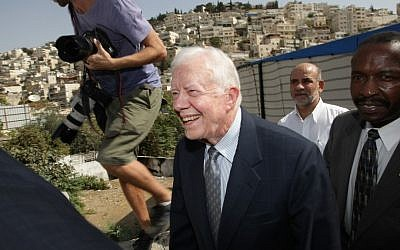 Former US president Jimmy Carter, pictured during a visit to East Jerusalem, lambasted an Israeli legal decision that the IDF bore no responsibility for the death of American activist Rachel Corrie. (Photo credit: Kobi Gideon/Flash90/File)