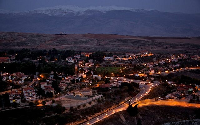 Northern Israeli town of Metulla at night (Doron Horowitz/Flash90)