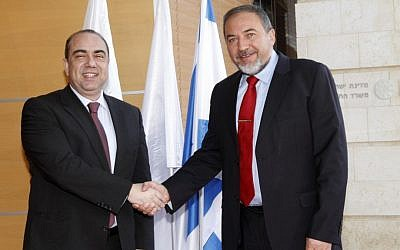 Foreign Minister Avigdor Lieberman meeting with Cypriot counterpart Markos Kyprianou in Jerusalem, March 2012 (photo credit: Miriam Alster/Flash90)