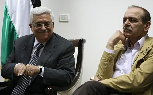 Palestinian Authority President Mahmoud Abbas (left) and top official Yasser Abed Rabbo (photo credit: Kobi Gideon/Flash90)