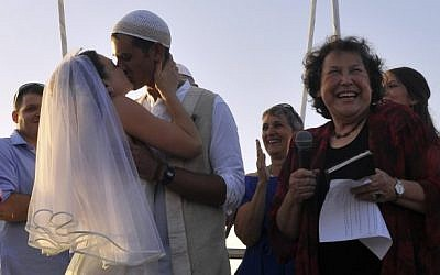 Illustrative: A Reform wedding in Tel Aviv, not recognized by the rabbinate. (Serge Attal/Flash90)