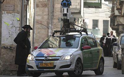 The Street View car capturing Jerusalem (photo credit: Uri Lenz/Flash90)