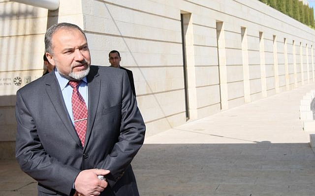 Foreign Minister Avigdor Lieberman outside the Ministry of Foreign Affairs. (photo credit: Kobi Gideon/Flash90)