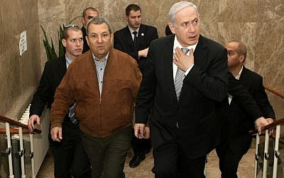 Prime Minister Benjamin Netanyahu (right) and Defense Minister Ehud Barak in February (photo credit: Kobi Gideon/Flash90)