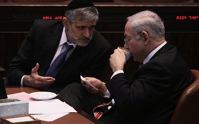 Prime Minister Benjamin Netanyahu and Minister of Interior Affairs Eli Yishai at the Knesset (photo credit: Kobi Gideon/Flash90)