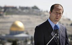 Nir Barkat speaks with the Old City in the background (photo credit: Miriam Alster/Flash90)