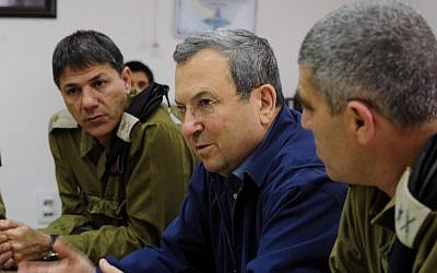 Defense Minister Ehud Barak in a meeting with top IDF officers (photo credit: Defence ministry/Flash90)