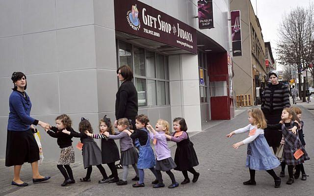 Young ultra-Orthodox Jewish schoolgirls in Crown Heights, Brooklyn, New York. (Serge Attal/Flash90)
