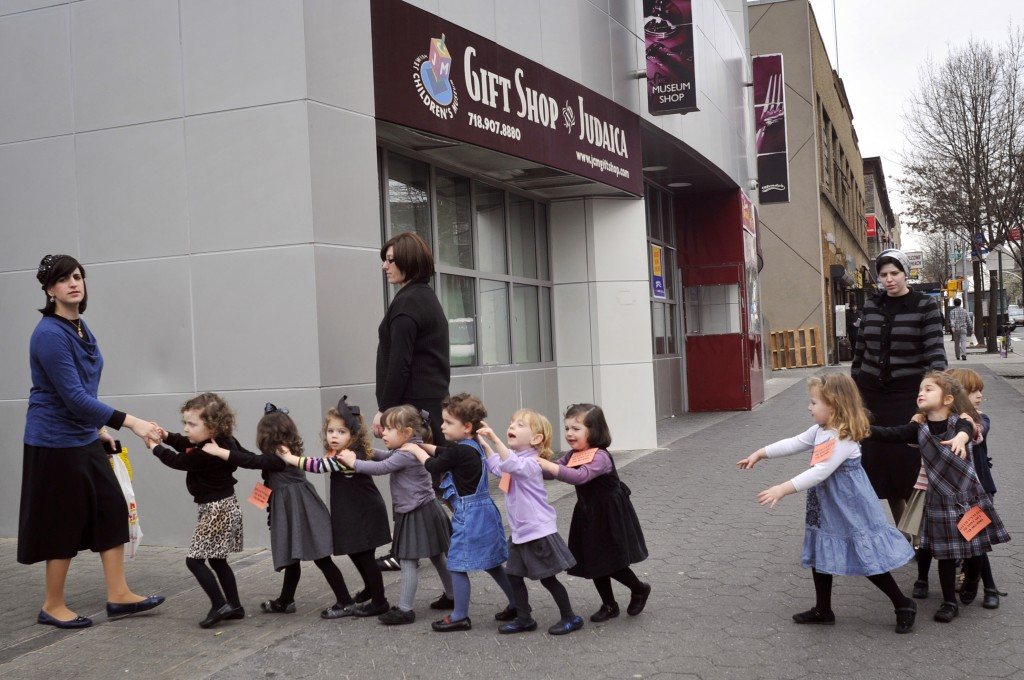 Young ultra-Orthodox Jewish school girls in Crown Heights, Brooklyn, New York. (illustrative photo credit: Serge Attal/FLASH90)