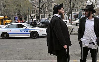 Illustrative photo of Orthodox Jews in Crown Heights, Brooklyn, New York City (Serge Attal/Flash90)
