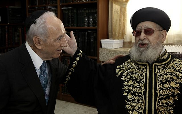 Shas spiritual leader Rabbi Ovadia Yosef meeting with Israeli President Shimon Peres in April, 2012 (photo credit: Kobi Gideon/Flash90)