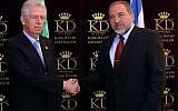 Foreign Minister Avigdor Lieberman greets Italian Prime Minister Mario Monti in Jerusalem on Sunday (photo credit: Yossi Zamir/Flash90)