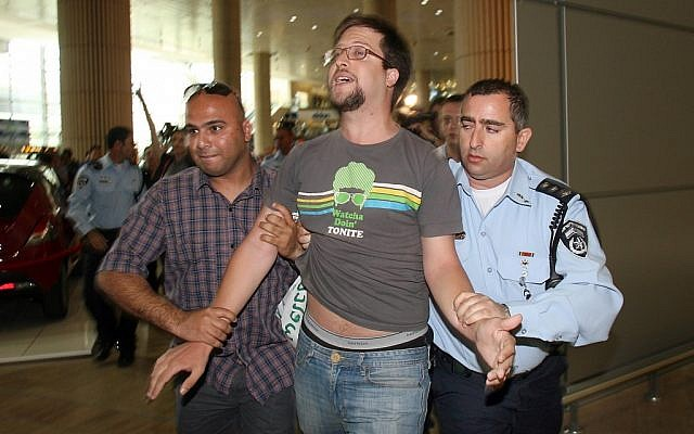 Left-wing activist detained at Ben Gurion Airport for participating in the 'Welcome to Palestine' protest (photo credit: Gideon Markowicz/Flash90)