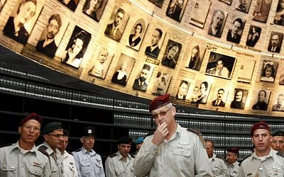 Benny Gantz leads the IDF's General Staff during a visit at Yad Vashem on Monday (photo credit: Miriam Alster/Flash90)