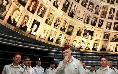IDF officers at Yad Vashem on Monday (photo credit: Miriam Alster/Flash90)