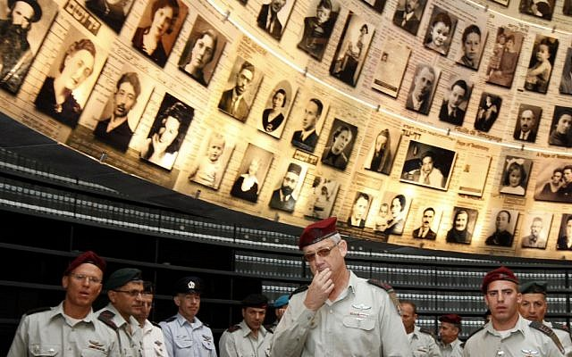 IDF officers at Yad Vashem on Monday (photo credit: Miriam Alster/Flash90)