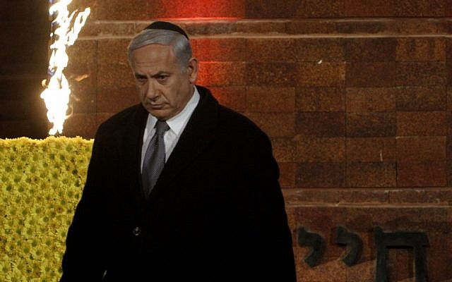 Prime Minister Benjamin Netanyahu at the Holocaust Remembrance Day ceremony at Yam Vashem on Wednesday night. (photo credit: Miriam Alster/Flash90)