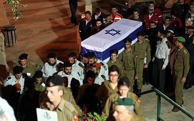 The funeral of 20 year old Hila Bezaleli at Mount Herzl in Jerusalem, yesterday (photo credit: Yossi Zamir/Flash 90)