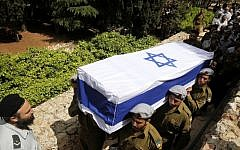 Illustrative. IDF soldiers carry the coffin of a fallen comrade in 2012. (Miriam Alster/Flash90)