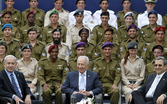 Prime Minister Benjamin Netanyahu, President Shimon Peres, and Defense Minister Ehud Barak participating in the Independence Day event (photo credit: Miriam Alster/Flash90)