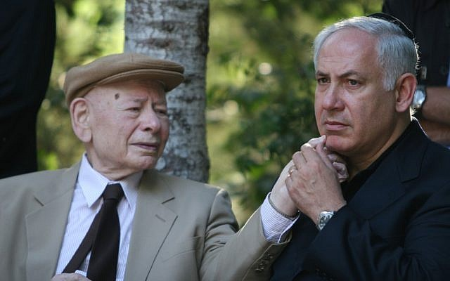 Prime Minister Benjamin Netanyahu with his father, Benzion, during a memorial ceremony for Yoni Netanyahu at Mount Herzl military cemetery, Jerusalem, 2007 (photo credit: Michal Fattal/Flash90)