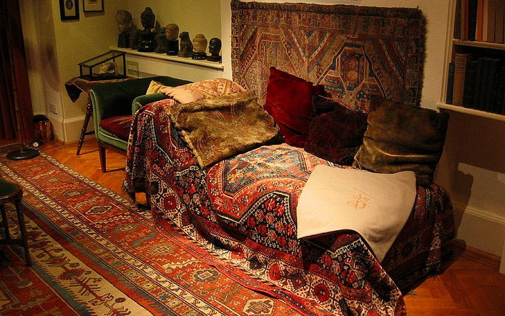 Freud's couch, in the Freud Museum, London. (photo credit: CC-BY Konstantin Binder/Wikimedia)