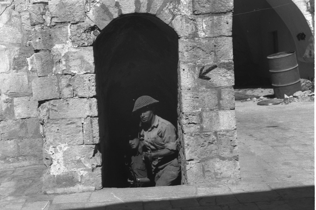 Israeli troops at Mt. Zion, just outside the Old City walls, 1948 (Courtesy of the Government Press Office)