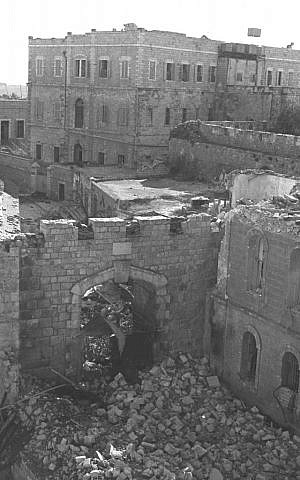 The Old City's New Gate, damaged by fighting, December 1948 (Courtest of the Government Press Office, Jerusalem)
