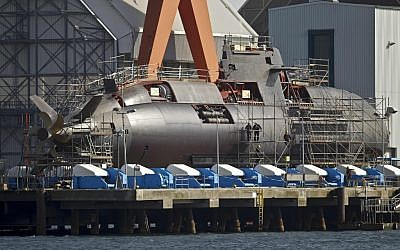 An Israeli Dolphin submarine at the shipyards in Kiel, northern Germany (photo credit: AP/Philipp Guelland)