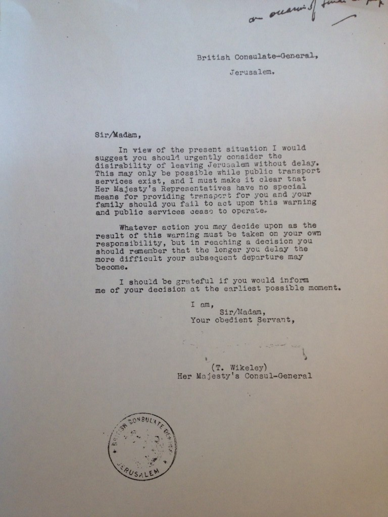 A letter from the British consul warned Jones to leave Jerusalem; he stayed (Courtesy of Christ Church)