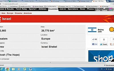 After: Israel now has a capital city (screen capture from london2012.com)