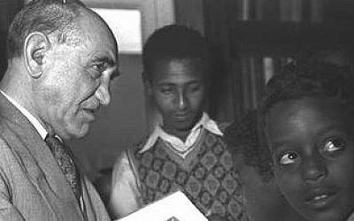 Jacques Faitlovitch is shown with Ethiopian Jewish students shortly before his death in 1955. (photo credit: Tel Aviv University's Sourasky Central Library)