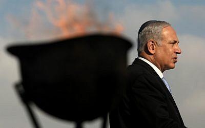 Benjamin Netanyahu at last year's memorial ceremony at Ammunition Hill (photo credit: Kobi Gideon/Flash90)