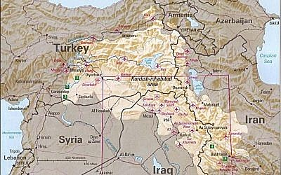 CIA map of Kurdish areas from 1992 (photo credit: University of Texas/Wikipedia)