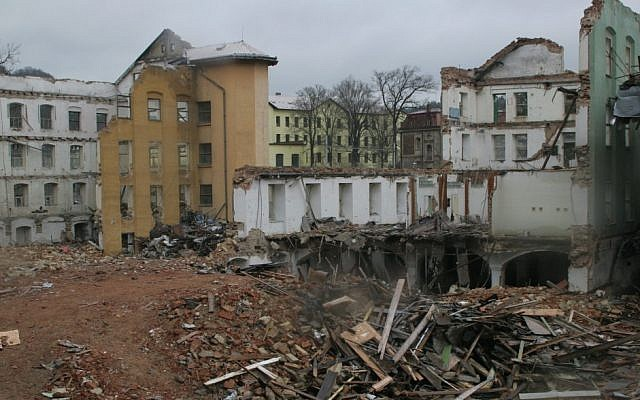 The lower part of the Schindler factory next to a demolished 19th-century building. (photo credit: Eva Munk/JTA)