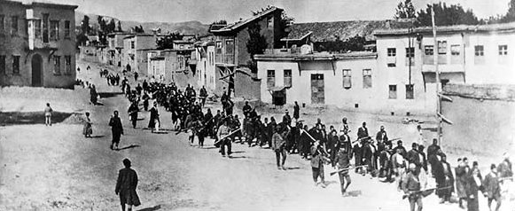 Armenians marching to prison (photo credit: Artaxiad, Wikimedia Commons)